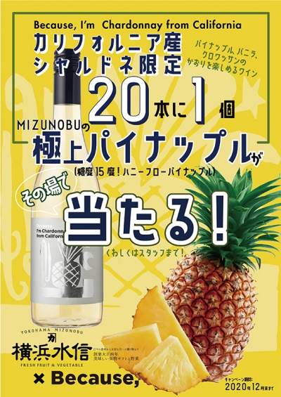 【~12/31】極上パイナップルが当たる!ビコーズワインのプレゼントキャンペーン